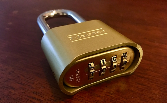 master lock letter lock 175dwd with the word tear appearing as the combination