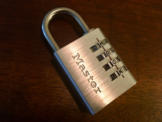 "Master Lock letter lock 643DWD with the word ""MOCK"" appearing as the combination."