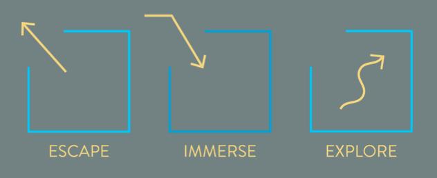 Escape Immerse Explore logo.