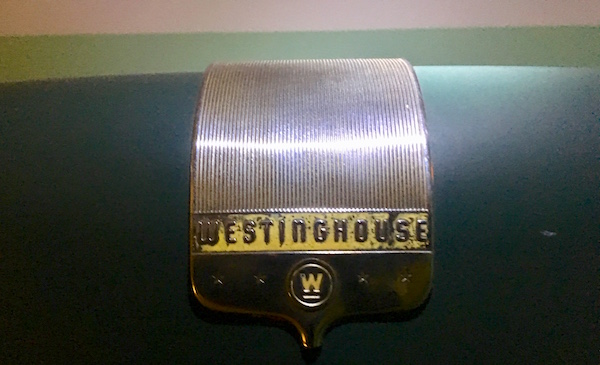 In-game: A close up of the old Westinghouse logo.