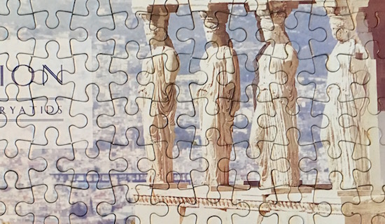 A blue and white jigsaw puzzle.