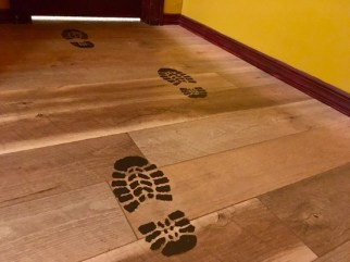 In-game: bootprints on the floor.