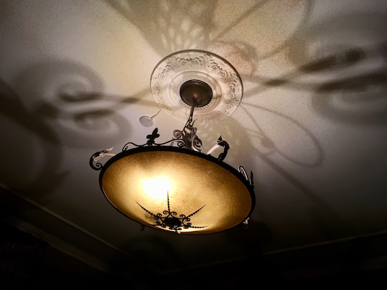 In-game: The ornate ceiling light fixture on the Honeymoon suite casing a a beautiful shadow.