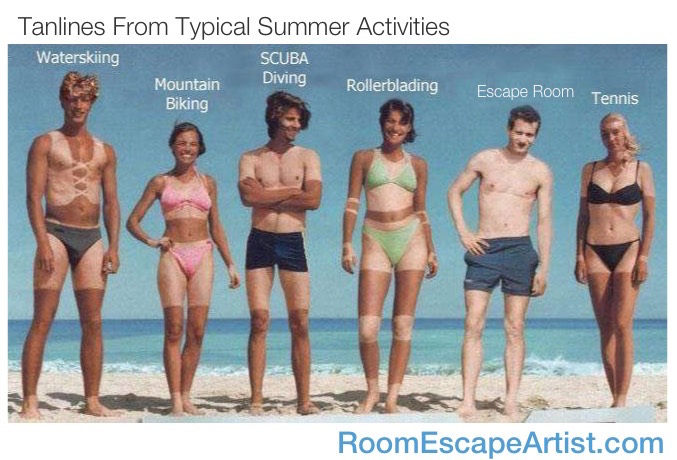 Tanlines from typical summer activities, depicting an assortment of people with tans reflecting the sport's clothing. Escape room is the label over a tanless guy,