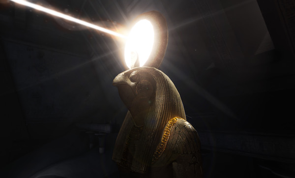 In-game: A statue of Horus with a beam of light shining from him.