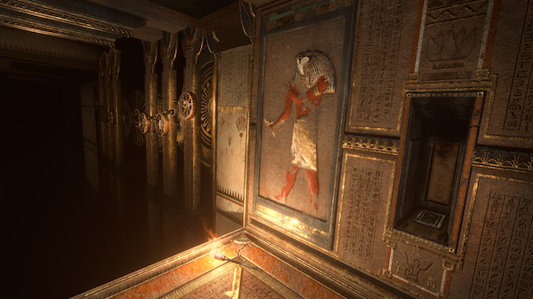 In-game: a corridore featuring an image of Horus on a wall of hieroglyphics.