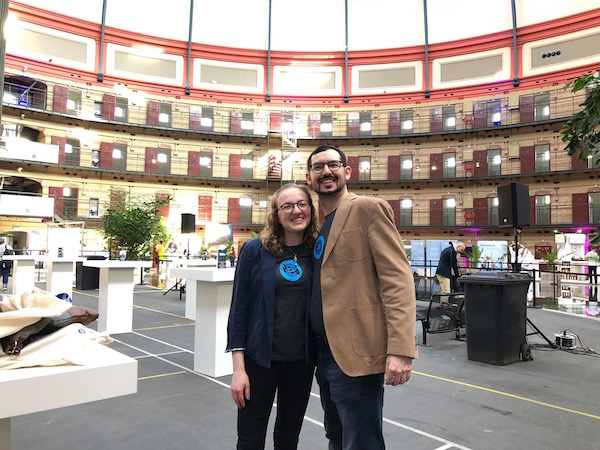 Lisa & David in Room Escape Artist t-shirts on the Up The Game show floor.