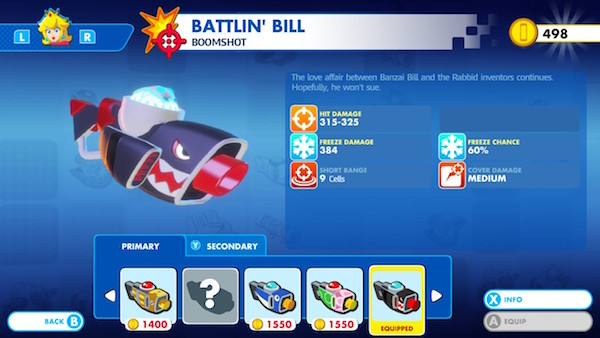 "The weapon selection screen for Princess Peach. This one shows ""Battlin' Bill"", one of her many boomshots. You can view its stats here."