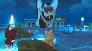 In the spooky world, an enemy jumps toward Rabbid Peach, ready to smash her with a coffin for some damage.