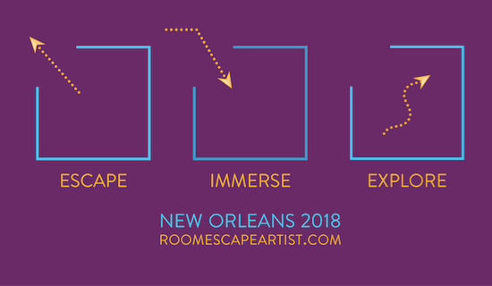 The purple, gold, and blue Escape Immerse Explore New Orleans Logo