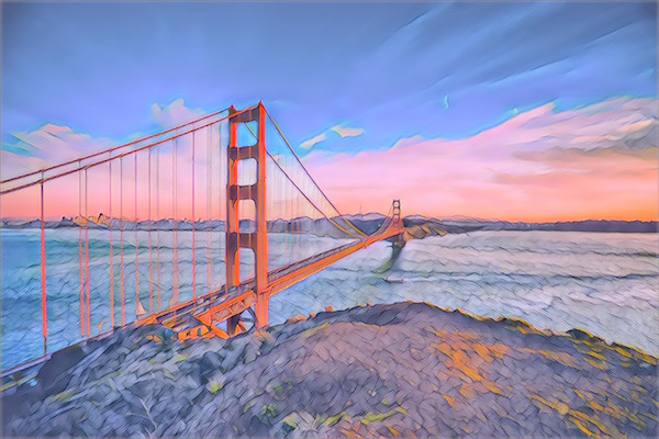 Stylized image of teh Golden Gate Bridge.