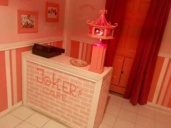 In-game: The checkout counter at Jokers Cafe.