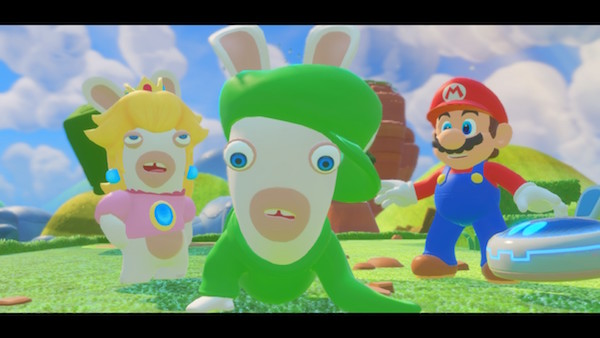The starting team of Rabbid Peach, Rabbid Luigi, and Mario.