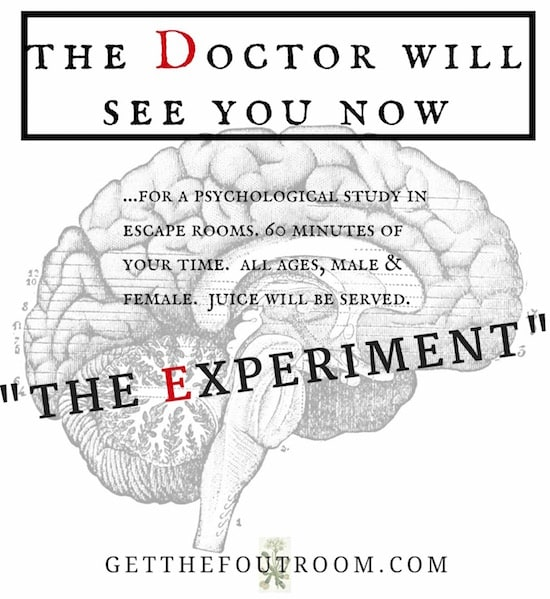 "In-game: The Experiment teaser, reads, ""The Doctor Will See You Now."""