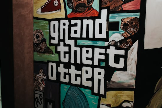 "In-game: A box cover for ""Grand Theft Otter"""