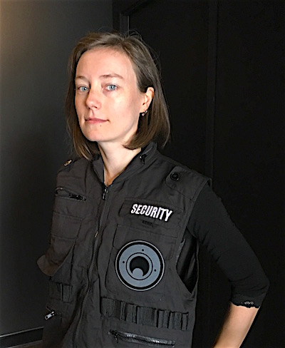 Sarah Willson in a security jacket at SCRAP's Mummy game.