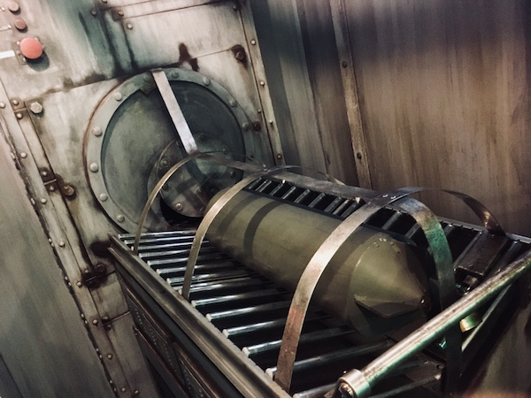 In-game: a torpedo in position for loading into a tube.
