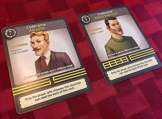 Two character cards, one for a mentalist codenamed Houdini, the other a burgler codenamed Passepartout.