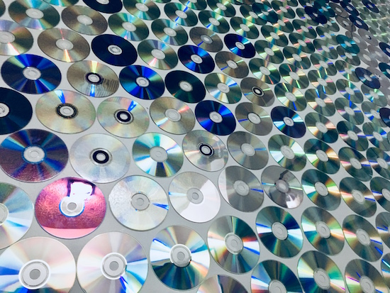 In-game: a wall of CDs.
