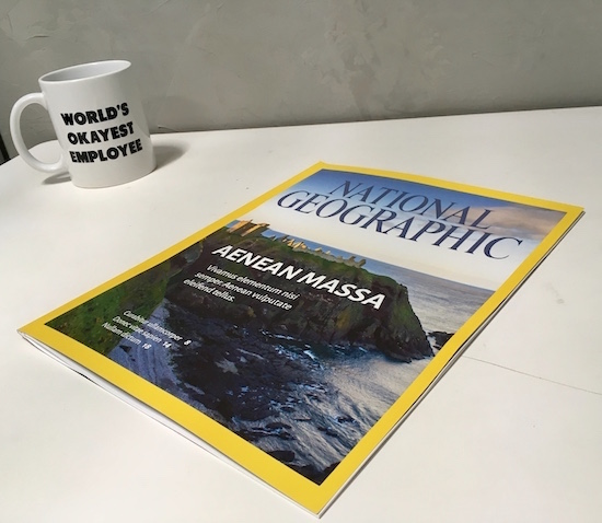 """In-game: a desk with a National Geographic magazine beside a coffee mug that reads, """"World's Okayest Employee."""""""
