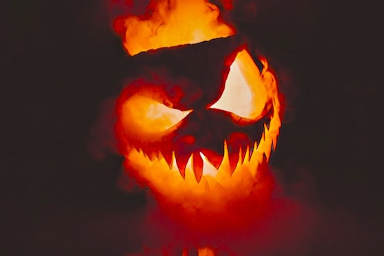 A glowing, smoking, menacing jack-o-lantern.