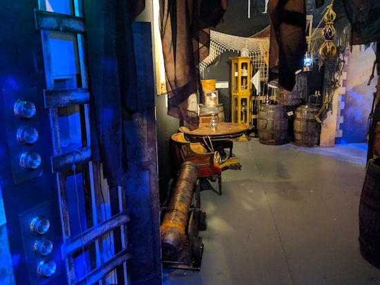 A view into the Museum of Intrigue's ship, it's filled with nautical artifacts.