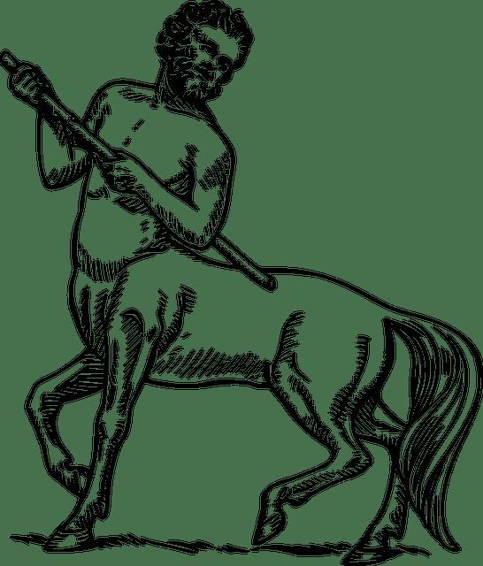 Drawing of a centaur, half man, half horse.