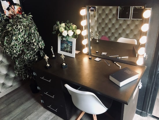 In-game: the desk and mirror in a movie star's dressing room.