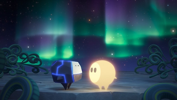 Glo and Bulder looking at each other with an aurora glowing behind them.