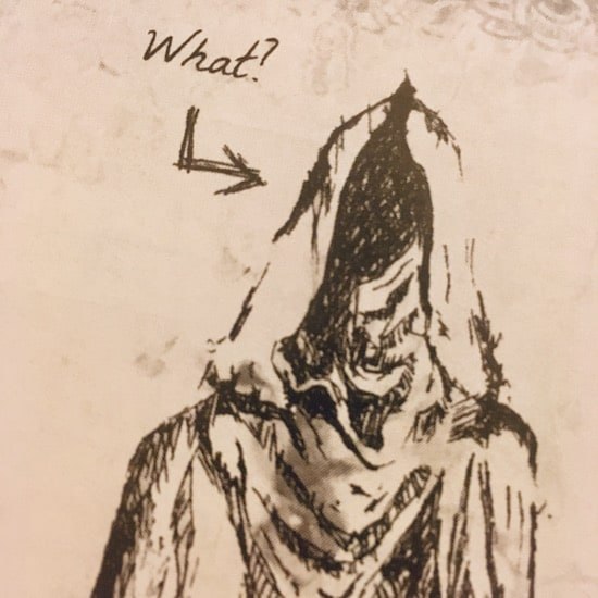 """In-game: Illustration of a hooded cultist saying, """"What?"""""""