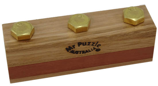 """3 bolts protruding from an elegant block of wood labeled, """"Mr Puzzle Australia"""""""