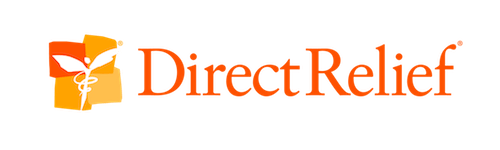 Direct Relief's orange logo.