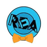 REA logo with an orange bowtie.