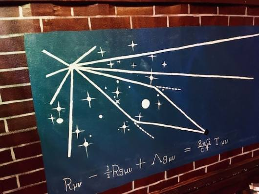 In-game: a star chart with unusual mathematical notation on it.