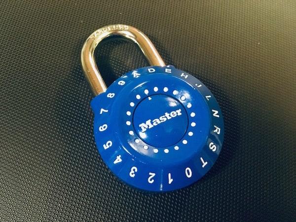 Blue alphanumeric locker-style padlock.