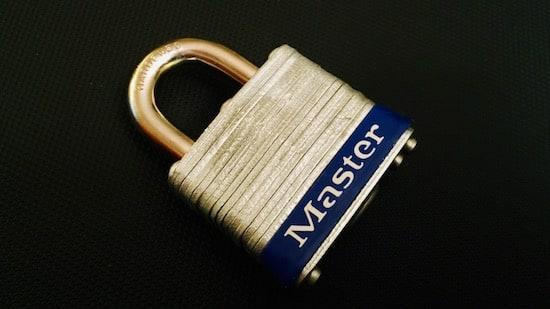 A laminated steel masterlock no 3.
