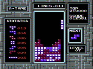 Tetris being played on the NES.