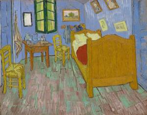 Rustic blue walled bedroom painted in van Gogh's signature impressionistic style.
