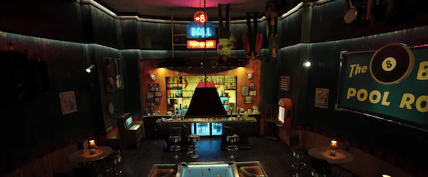 A bar room where everything is upside down.