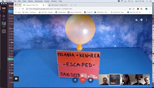 "In-game: An inflated balloon and a sign that says, ""Yolanda, Ken, & REA Escaped. Jan 2019."""