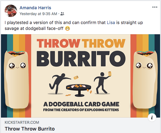 "Amanda Harris posting about Throw Throw Burrito reads, ""I playtested a version of this and can confirm that Lisa is straight up savage at dodgeball face-off."""