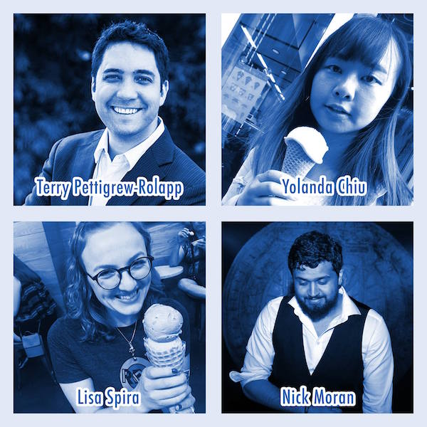 Blue tinted images of Terry Pettigrew-Rolapp, Yolanda Chiu, Lisa Spira, & Nick Moran. Lisa and Yolanda are both holding ice cream cones.