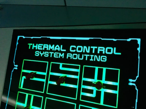 In-game: The glowing thermal control system routing console.