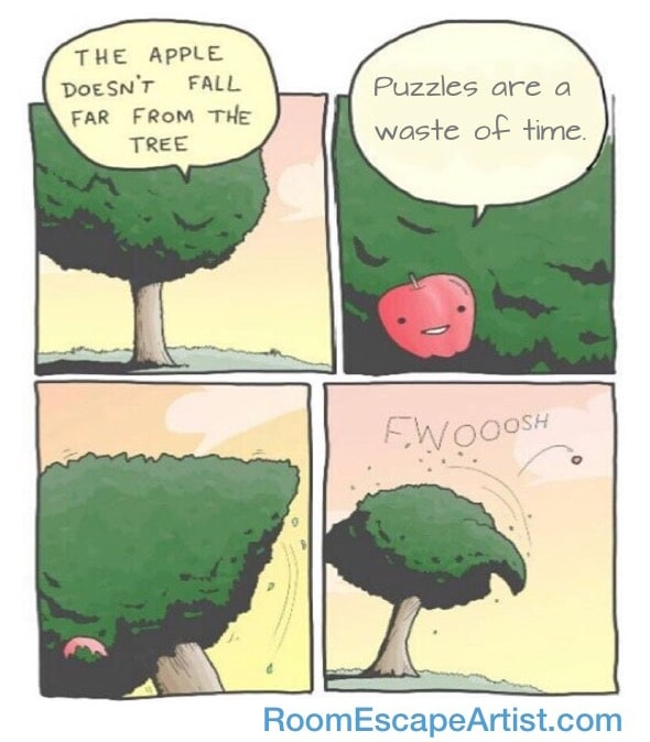 """Tree ejecting an apple that says, """"Puzzles are a waste of time."""""""