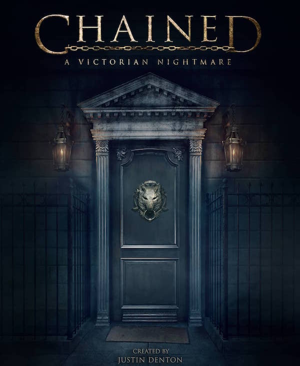 The promo art for Chained: A Victorian Nightmare features an ornate door with a wolf's head knocker.