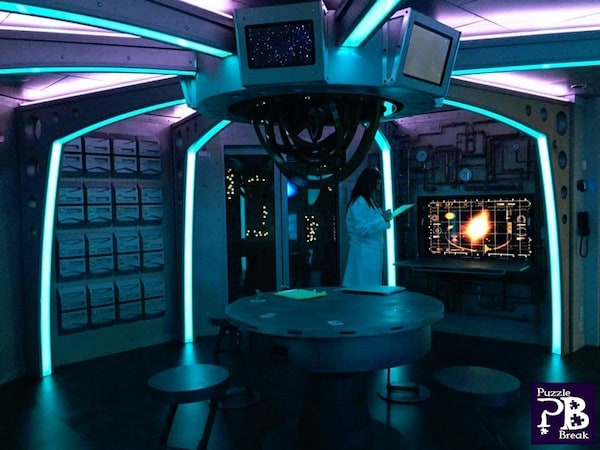 In-game: Escape The Rubicon's futuristic spaceship set.