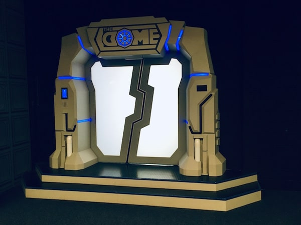 In-game: The white and blue sci-fi entry way for The Dome.