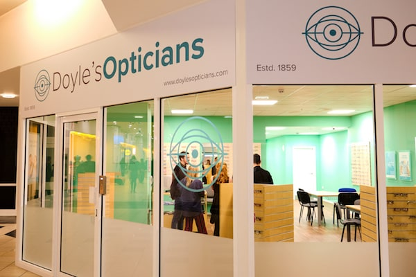The Doyle's Opticians faux storefront. .
