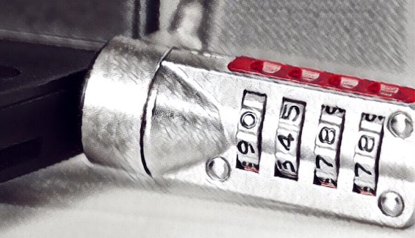Closeup of a stylized combination lock.