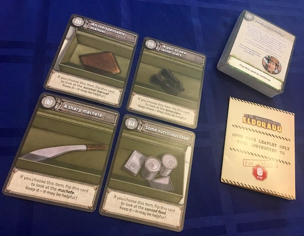 4 cards with different survival tools.